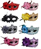 #5: CISMARK Half Masquerades Venetian Masks Costumes Party Accessory (Pack of 8)
