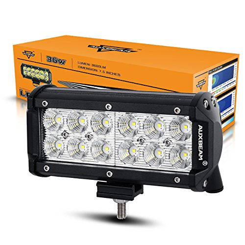 "Auxbeam 7"" 36W LED Work Light Bar 3600LM CREE 60 Degree Floo"