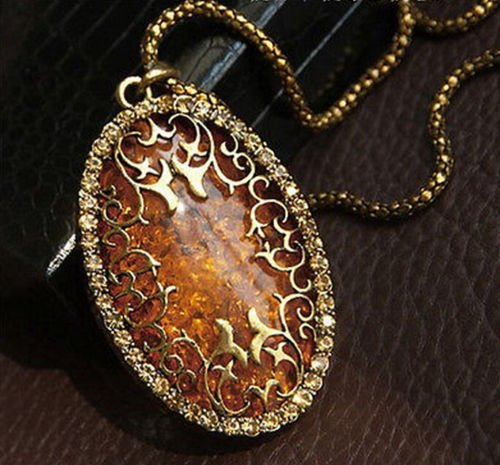 Amber Rhinestone Necklace - 7