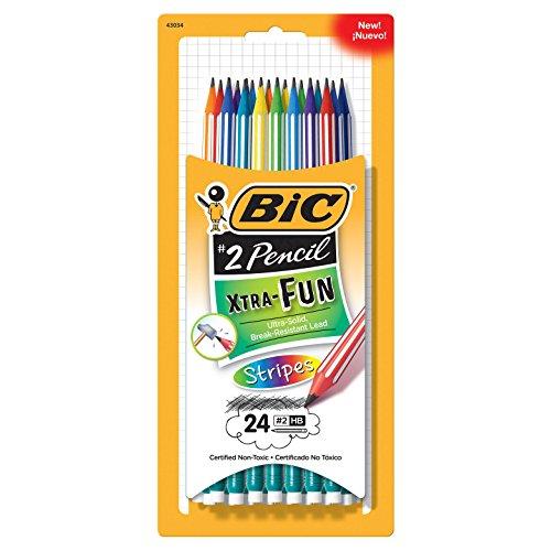 Striped Pencil - Bic Pencils Extra Fun Stripes 24 Pack