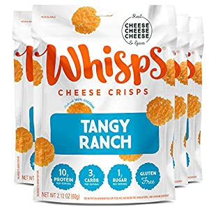 Whisps Tangy Ranch Cheese Crisps | Keto Snack, Gluten Free, Sugar Free, Low Carb, High Protein | 2.12oz (4 Pack)