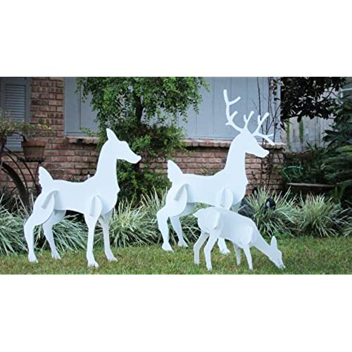 teak isle christmas outdoor reindeer family christmas deer set - White Deer Christmas Decoration