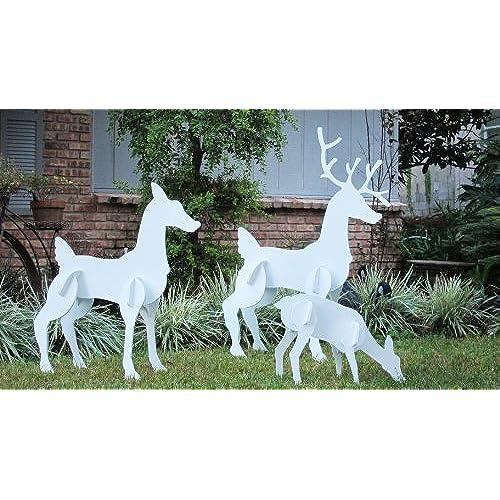 teak isle christmas outdoor reindeer family christmas deer set - White Deer Christmas Decoration