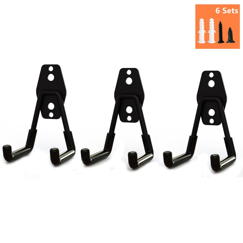 Wall Hung Double Hook,Cheaboom Bicycle Storage Hook Garage Space Saver Heavy Duty Hanger Rack Extended Wall Mount Tool Holder U-Hook with Anti-Slip Coating for Chair Ladder (3 x Small Size Hook)