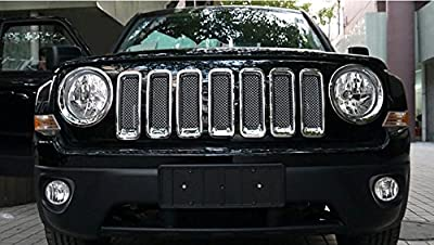 Triple Chromed Front Mesh Grille Grill Inserts Trims Decorative Guards Protectors Covers for Jeep Patriot 2011 2012 2013 2014 2015 2016 ABS 7pcs/set