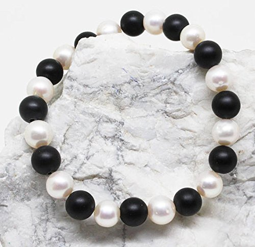 JP_Beads Genuine Fresh Water Pearl Bracelet, White Bead Bracelet, Real Freshwater Pearl Stretch Bracelet, Black Onyx Matted Beads 7.5-8.5 MM
