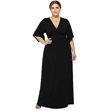 e3356b14e64f3d TEBAISE Damen Elegant Maxi Kleid Große Größen Knielang Retro V-Ausschnitt  Höhe Taille Frauen Plus