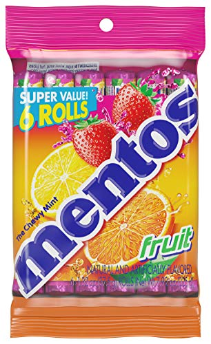 Mentos Chewy Mint Candy Roll, Fruit, Non Melting, 1.32 ounce/14 Pieces (Pack of 6)]()