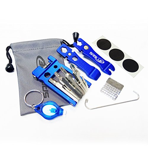 SABLUE 30 in 1 Multi Function Bike Tool Kit Set Multitool Bicycle Cycling Spoke Wrench Metal Tyre Levers Glueless Tire Patch Chain Splitter Breaker Repair