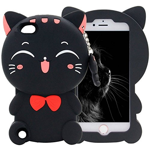 iPod touch 6th Generation Case, iPod Touch 5 Case , Mulafnxal Cute 3D Cartoon Cat Silicone Rubber Phone Case Cover for Apple iPod Touch 6th / 5th Generation (Black Lucky Cat) (Silicone Ipod 5 Case)