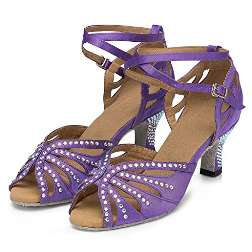 Purple Satin Flared Wedding US Dance Women's 10 M Miyoopark Shoes Party Heel SA7WBFOq