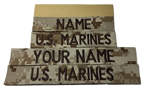 - 2 pieces Desert Marpat Name Tape & US Marines Tape (with Fastener)