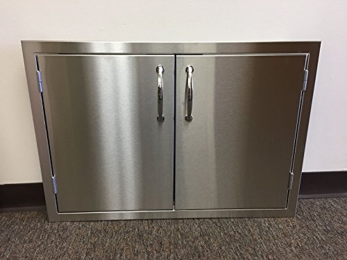 All Stainless Steel 36'' Double Access BBQ Door with Liner by Best of Backyard