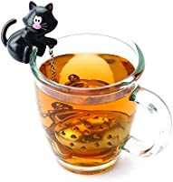 Joie Meow Cat Loose Tea Leaf Tea Strainer and Herbal Infuser, 18/8 Stainless Steel, Assorted Black and White