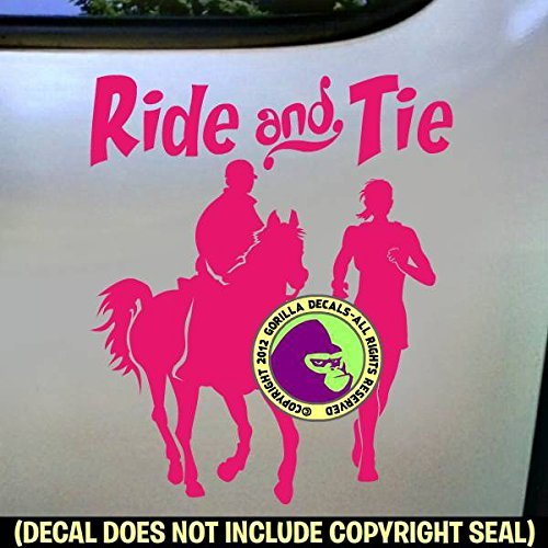 RIDE AND TIE Horse Runner and Rider Distance Vinyl Decal Sticker C