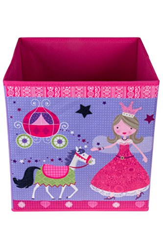 Cute Pink Princess Collapsible Storage Organizer by Clever Creations | Horse & Carriage | Folding Storage Cube for Bedroom | Perfect Size Storage Cube for Books, Clothes, Electronics, or Gadgets