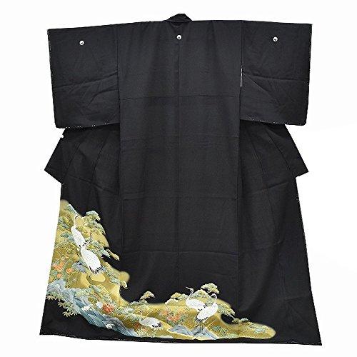 黒留袖 中古 リサイクル 正絹 五つ紋 比翼付き 鶴文様 裄66cm 黒系 裄Lサイズ 身丈サイズ ll1269a05 B07DXH61RY  -