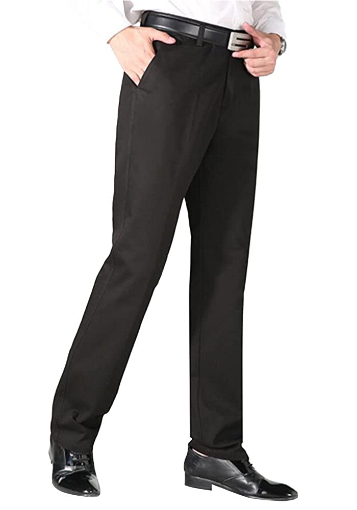 EUROUS Mens High Waist Business//Casual Straight Cotton Pants
