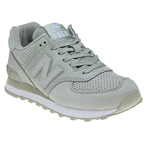 New Balance Womens 574 WL574 Shoes, Size: 9 B(M) US, Color Silver Mint/White by New Balance