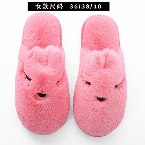 Y-Hui invierno zapatillas de algodón, engrosamiento, calidez, hombre de hogar, Casa zapatillas Watermelon Red