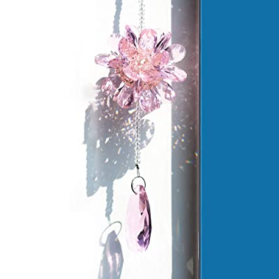 FIANUP Crystal Pink Suncatcher Chandelier Hanging Ornament Prisms Chakra Pendants for Window, Home, Garden, Decoration : Garden & Outdoor