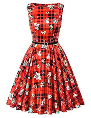 GRACE KARIN Women's Sleeveless Christmas A-line Party Dress with Belt