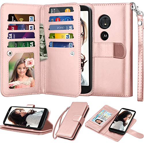Njjex for Moto E5 Plus Wallet Case, for Moto E5 Supra Case, PU Leather [9 Card Slots] ID Credit Folio Flip Cover [Detachable][Kickstand] Magnetic Case & Wrist Strap for Motorola E5 Plus [Rose Gold]