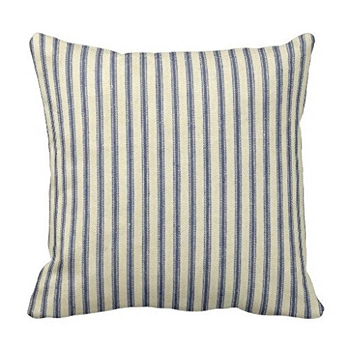 Pillow Blue French - Retro Ticking Blue White Striped Vintage French Pillow Case