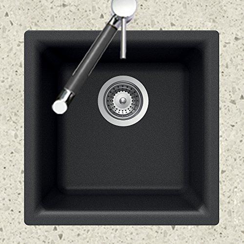 Houzer E-100 MIDNITE Quartztone Series Granite Dual Mount Bar/Prep Sink, Black by HOUZER (Image #1)