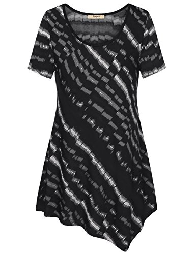 Asymmetrical Top,Timeson Women's Short Sleeve Print High Low Hem T-Shirt Loose Fit eLong Tunic Dress Black X-Large