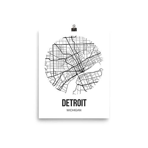 Amazon.com: Detroit Map Wall Art Print, Unframed Detroit Michigan ...
