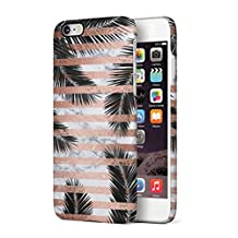 Palm Leaves Under White Marble & Rose Gold Stripes Hard Plastic Phone Case For iPhone 6 Plus & iPhone 6s Plus