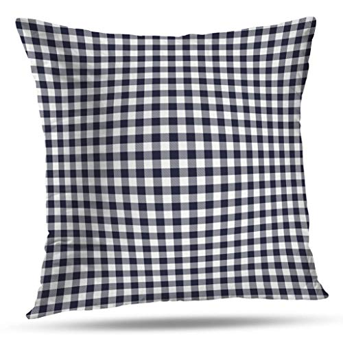 Pakaku Throw Pillows Covers for Couch/Bed 18 x 18 inch,Navy Blue Gingham Gray White Plaid Home Sofa Cushion Cover Pillowcase Gift Decorative Hidden Zipper Design Cotton and Polyester