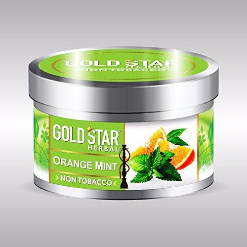 (NON Tobacco Gold Star Herbal Smoke ORANGE MINT Flavor Premium Hookah 200 gm)