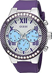GUESS Women's U0772L5 Sporty Silver-Tone Watch with Silver Dial , Crystal-Accented Bezel and Silicone Strap Buckle