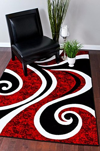 (0327 Red Black Swirl White Area Rug Carpet 5x7 Modern Abstract)