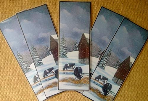 BOOKMARKS, Holstein COWS in Winter, Barn, Snow, From Original Painting, Plastic Sleeve, Literacy, Reading, Book Club by Joyce's Art Magnets