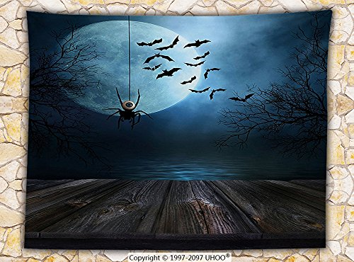 Halloween Decorations Fleece Throw Blanket Misty Lake Scene Rusty Wooden Deck Spider with Eyeball and Bats in the Moonlight Throw (West Elm Halloween Decorations)