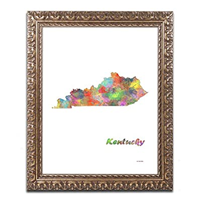 Trademark Fine Art MW0288-G1114F Kentucky State Map-1 by Marlene Watson