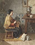 Girl Sitting On A Stove Turning A Coffee Grinder By Joseph De Groot C 1850-99 Dutch Watercolor Painting Girl In Patched Clothing Engaged In Housework (Bsloc2016294) Poster Print (24 x 36)