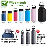 Top Souls Wide Mouth Straw Lids fit Hydro Flask and Most Sports Water Bottles from 12 oz - 64 oz, 2 Lids with 2 Straws and 2 Brushes in 1 Set Best Value