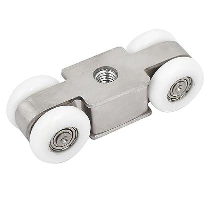 SOURCING MAP sourcingmap® 70mmx26mmx18mm 4 Ruedas de acero inoxidable correderas de rodillos para puerta