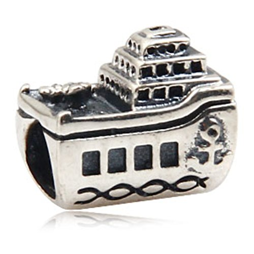 Boat Bead (Vintage Yacht Boat Charm 925 Sterling Silver Bead Velhic Charm For Pandora Diy Bracelet)