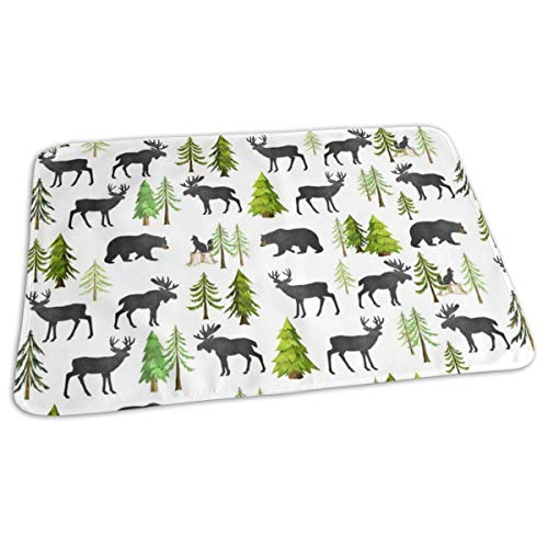 - Tiny Home in The Forest - Woodland Animals Bear Moose Deer Pine Trees Baby Nursery Bedding GingerLous Baby Toddler Waterproof Washable Diaper Portable Reusable Changing Pad Mat 27.5