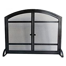 Pleasant Hearth FA338S Harper 1-Panel Fireplace Screen with Doors - Antique Black Finish from GHP-Group Inc