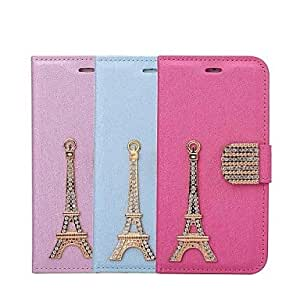 PEACH HHMM Diamond The Tower PU Leather Cases with Stand for iPhone 6 Case 4.7 inch(Assorted Colors) , Rose