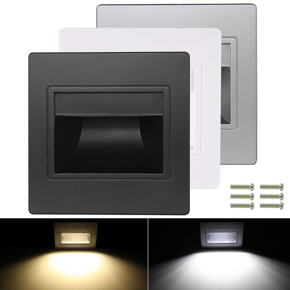 6-Pack LED Step Corner Light,1.5W 85-240V Indoor Stairs Embedded Wall Night Lighting (Black, White Light)