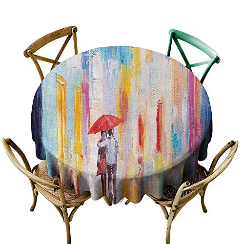 Urban Polyester Tablecloth Silhouette of Valentines Couple on