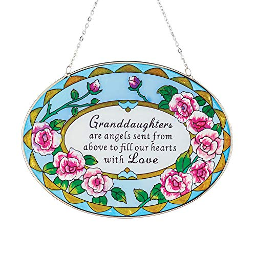 Collections Etc Beautiful Roses Granddaughter Suncatcher Gift - Stained Glass Colorful Outdoor or Indoor Window Hanging