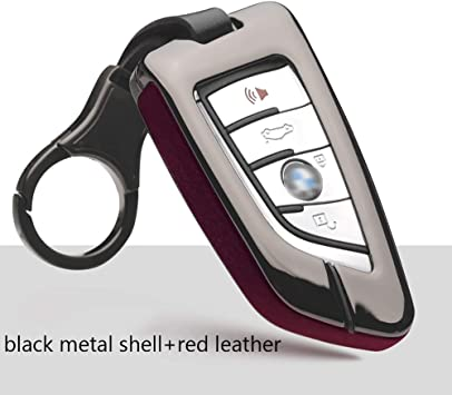 ontto Metal Leather Key Fob Cover with Keychain Key Protector Holder Jacket Skin Keyless Fit for BMW 1 2 5 7 M Series X1 X5 X6 Red